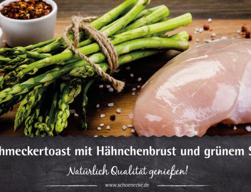 Feinschmeckertoast mit Hähnchenbrust und grünem Spargel