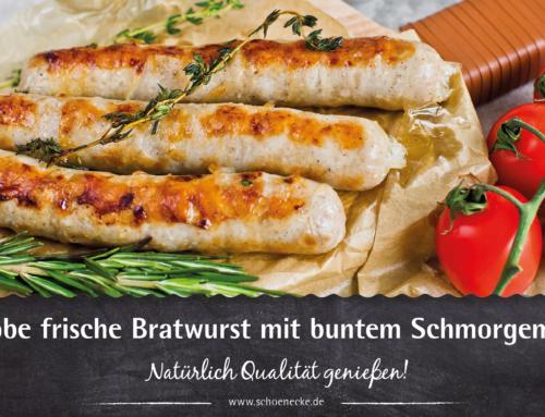 Grobe frische Bratwurst mit buntem Schmorgemüse