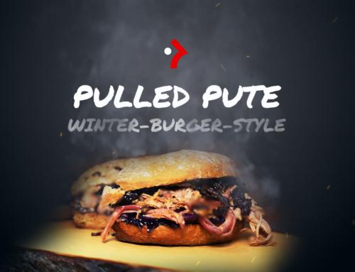 Winterburger mit Pulled Pute und Rotkohl