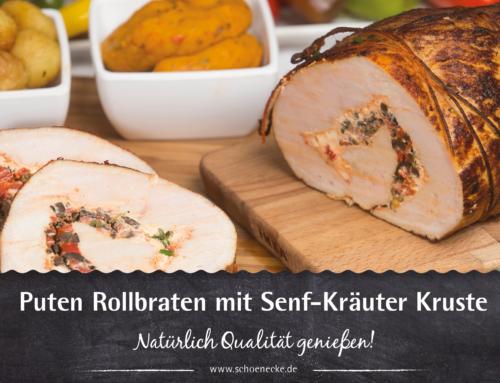 Puten Rollbraten mit Senf-Kräuter Kruste